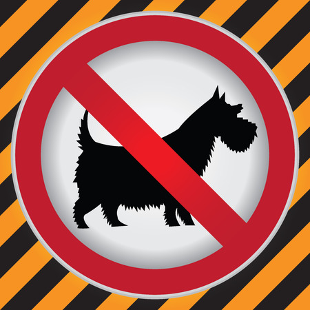 Circle Prohibited Sign For No Dogs or No Pets Allowed in This Area Sign in Caution Zone Dark and Yellow Background photo