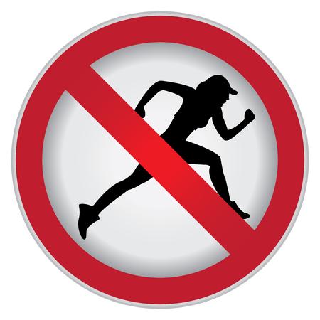 no correr: Círculo Prohibido Entrar Para No Sport o No Ejecución de sesión Foto de archivo