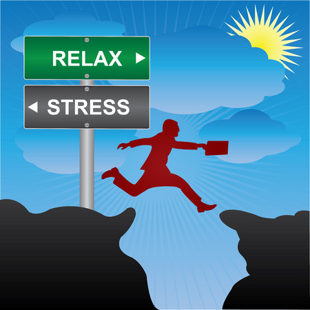 stressing: Business and Finance Concept Present By Jumping Through The Valley Gap With Green and Gray Street Sign Pointing to Relax and Stress in Blue Sky Background