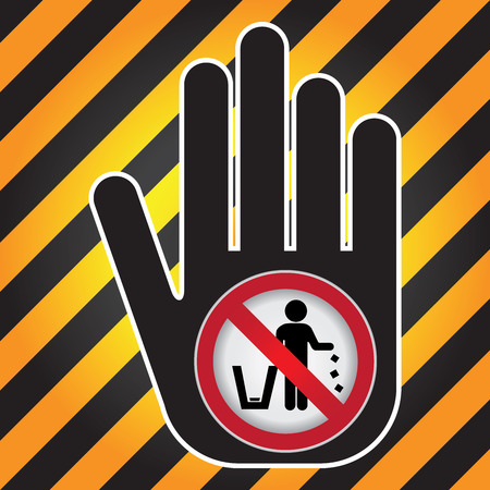littering: No Littering, Please Use A Trash Can or Please Keep Area Clean Concept Present By Hand With No Littering Sign Inside in Caution Zone Dark and Yellow Background