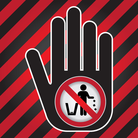 don: No Littering, Please Use A Trash Can or Please Keep Area Clean Concept Present By Hand With No Littering Sign Inside in Caution Zone Dark and Red Background Stock Photo