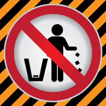 littering: Circle Prohibited Sign For No Littering, Please Use A Trash Can or Please Keep Area Clean Concept Present By No Littering Sign in Caution Zone Dark and Yellow Background Stock Photo