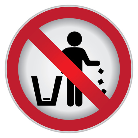 botar basura: C�rculo Prohibido Entrar Para no tirar basura, por favor, utilice un bote de basura o por favor evita Area Clean Concept Presente Por Ninguna muestra Tirar basura aislada sobre fondo blanco Foto de archivo