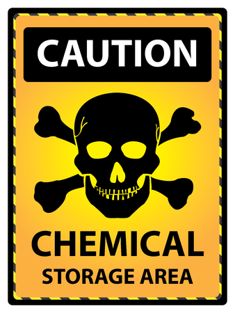 chemical hazard: Yellow Caution Plate For Safety Present By Caution and Chemical Storage Area Text With Skull Sign Isolated on White Background Stock Photo
