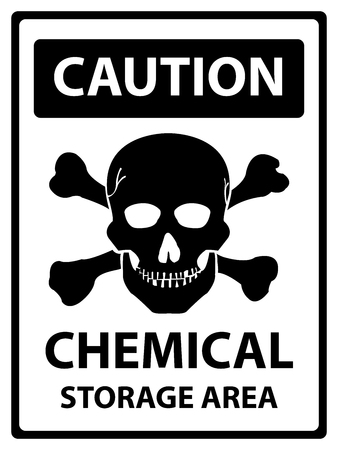 hazardous area sign: Caution Plate For Safety Present By Caution and Chemical Storage Area Text With Skull Sign  Isolated on White Background