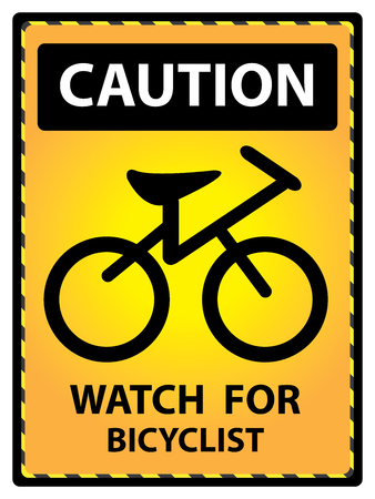 cross street with care: Yellow Caution Plate For Safety Present By Watch For Bicyclist Text With Bicycle Sign Isolated on White Background