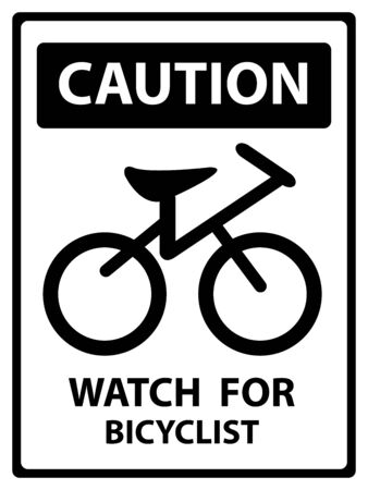 cross street with care: Caution Plate For Safety Present By Watch For Bicyclist Text With Bicycle Sign Isolated on White Background Stock Photo