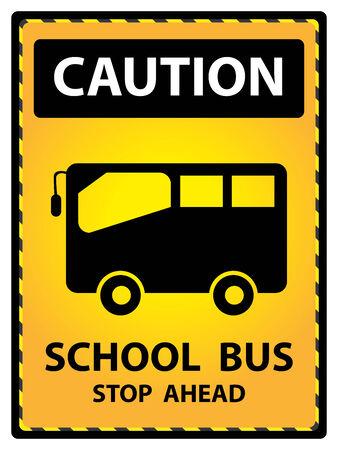 Giallo targhetta precauzioni per la sicurezza Presente In arresto dello scuolabus avanti Testo Con Scuolabus segno isolato su sfondo bianco Archivio Fotografico - 34755636