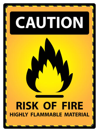 Yellow Caution Plate For Safety Present By Risk Of Fire Highly Flammable Material Text With Flame Sign Isolated on White Background photo