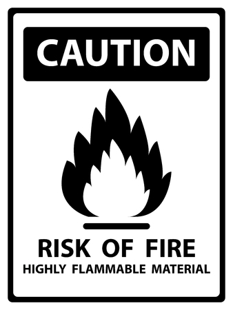 Caution Plate For Safety Present By Risk Of Fire Highly Flammable Material Text With Flame Sign Isolated on White Background photo