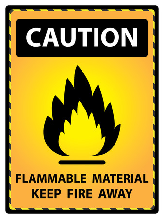 Yellow Caution Plate For Safety Present By Flammable Material Keep Fire Away Text With Flame Sign Isolated on White Background photo