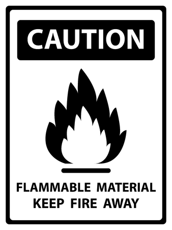 Caution Plate For Safety Present By Flammable Material Keep Fire Away Text With Flame Sign Isolated on White Background photo