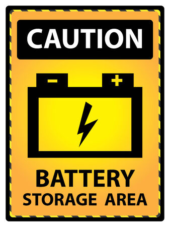 Yellow Caution Plate For Safety Present By Battery Storage Area Text With Battery Sign Isolated on White Background photo
