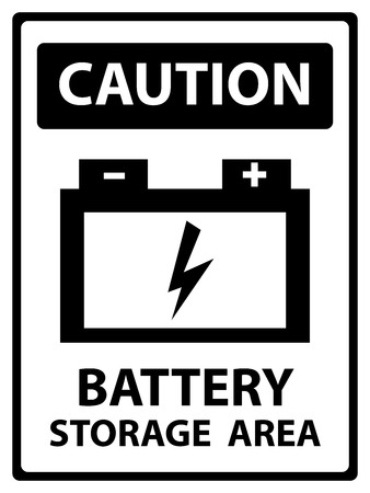 Caution Plate For Safety Present By Battery Storage Area Text With Battery Sign Isolated on White Background photo