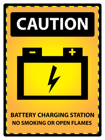 Yellow Caution Plate For Safety Present By Battery Charging Station No Smoking Or Open Flames Text With Battery Sign Isolated on White Background photo