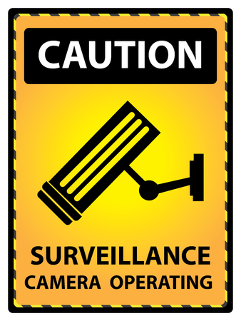 caution cctv: Yellow Caution Plate For Safety Present By Surveillance Camera Operating Text With CCTV Sign Isolated on White Background Stock Photo