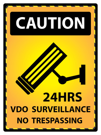 no trespassing: Yellow Caution Plate For Safety Present By 24HRS VDO Surveillance No Trespassing Text With CCTV Sign Isolated on White Background