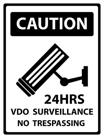 no trespassing: Caution Plate For Safety Present By 24HRS VDO Surveillance No Trespassing Text With CCTV Sign Isolated on White Background Stock Photo