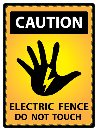 Yellow Caution Plate For Safety Present By Electric Fence Do Not Touch Text With Hand and Electric or Thunderbolt Sign Isolated on White Background photo