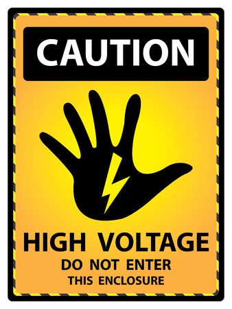Yellow Caution Plate For Safety Present By High Voltage Do Not Enter This Enclosure Text With Hand and Electric or Thunderbolt Sign Isolated on White Background photo
