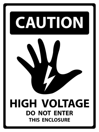 Caution Plate For Safety Present By High Voltage Do Not Enter This Enclosure Text With Hand and Electric or Thunderbolt Sign Isolated on White Background Stock Photo