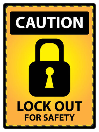 lock out: Yellow Caution Plate For Safety Present By Lock Out For Safety Text With Key Lock Sign Isolated on White Background