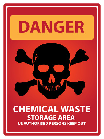 chemical hazard: Red Danger Plate For Safety Present By Danger and Chemical Waste Storage Area Unauthorized Persons Keep Out Text With Skull Sign Isolated on White Background