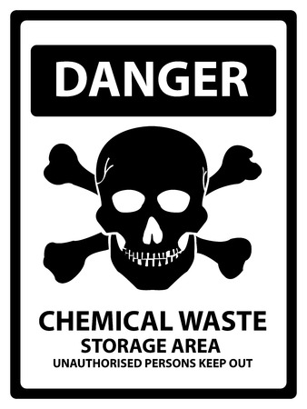 hazardous area sign: Danger Plate For Safety Present By Danger and Chemical Waste Storage Area Unauthorized Persons Keep Out Text With Skull Sign Isolated on White Background