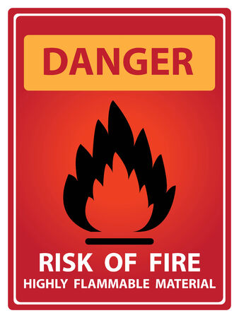 firealarm: Red Danger Plate For Safety Present By Danger and Risk Of Fire Highly Flammable Material Text With Flame Sign Isolated on White Background