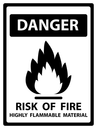 burnable: Danger Plate For Safety Present By Danger and Risk Of Fire Highly Flammable Material Text With Flame Sign Isolated on White Background Stock Photo