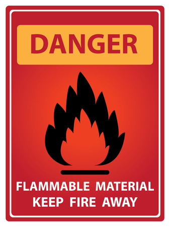 Red Danger Plate For Safety Present By Danger and Flammable Material Keep Fire Away Text With Flame Sign Isolated on White Background