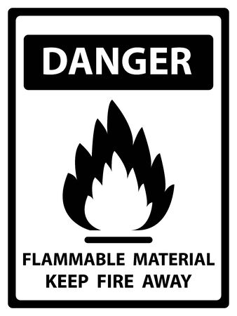 burnable: Danger Plate For Safety Present By Danger and Flammable Material Keep Fire Away Text With Flame Sign Isolated on White Background