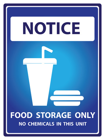 hazardous area sign: Blue Notice Plate For Safety Present By Notice and Food Storage Only No Chemicals In This Unit Text With Fastfood Sign Isolated on White Background Stock Photo