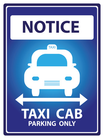 Blue Notice Plate For Safety Present By Notice and Taxi Cab Parking Only Text With Taxi Sign Isolated on White Background photo