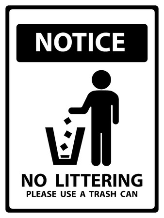 littering: Notice Plate For Safety Present By Notice and No Littering Please Use A Trash Can Text With Littering Sign Isolated on White Background