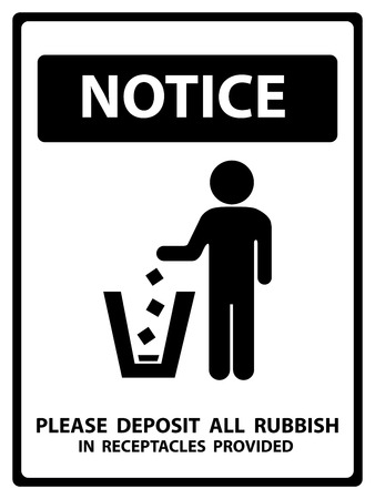 littering: Notice Plate For Safety Present By Notice and Please Deposit All Rubbish In Receptacles Provided Text With Littering Sign Isolated on White Background Stock Photo