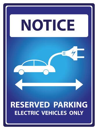 Avviso Blue Plate Per Presente Sicurezza Per Notice e riservato parcheggio solo veicoli elettrici Testo Con auto elettrica segno isolato su sfondo bianco Archivio Fotografico - 34755861