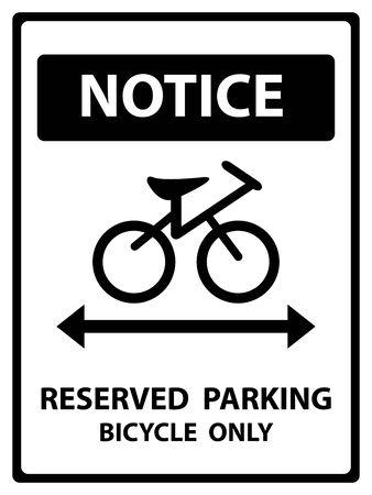 Avviso Piastra Per Presente Sicurezza Per Notice e riservato parcheggio biciclette solo testo Con La Bicicletta segno isolato su sfondo bianco Archivio Fotografico - 34755870