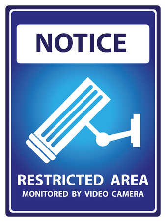 vdo: Blue Notice Plate For Safety Present By Notice and Restricted Area Monitored by Video Camera Text With CCTV Sign Isolated on White Background Stock Photo