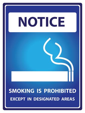 designated: Blue Notice Plate For Safety Present By Smoking is Prohibited Except in Designated Areas With Smoking Sign Isolated on White Background Stock Photo