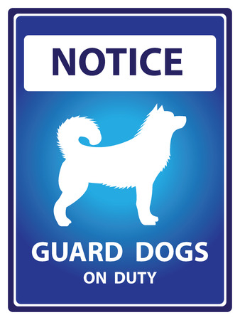 Blue Notice Plate For Safety Present By Guard Dogs On Duty With Dog Sign Isolated on White Background photo