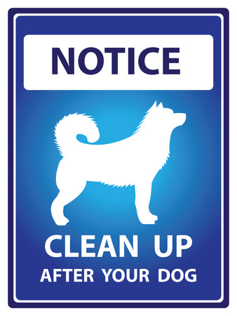 Blue Notice Plate For Safety Present By Clean Up After Your Dog With Dog Sign Isolated on White Background photo