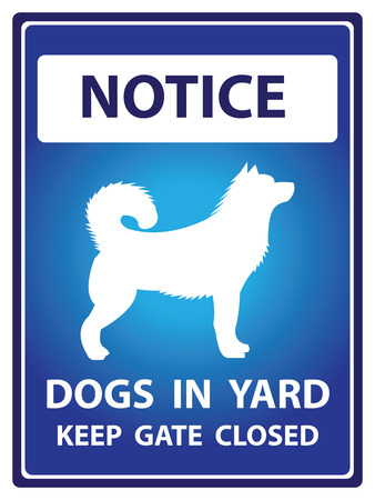Blue Notice Plate For Safety Present By Dogs In Yard Keep Gate Closed With Dog Sign Isolated on White Background photo
