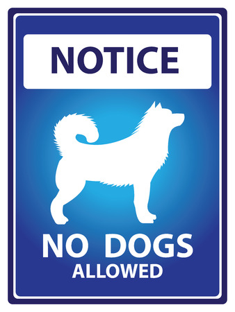 Blue Notice Plate For Safety Present By No Dogs Allowed With Dog Sign Isolated on White Background photo