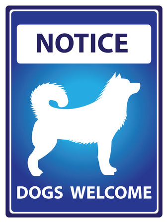 Blue Notice Plate For Safety Present By Dogs Welcome With Dog Sign Isolated on White Background photo