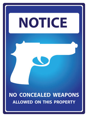 Blue Notice Plate For Safety Present By No Concealed Weapons Allowed on This Property With Gun Sign Isolated on White Background photo