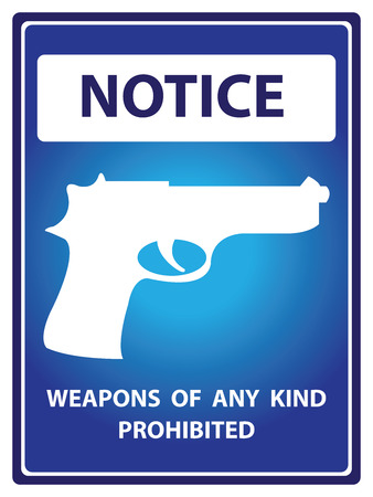 Blue Notice Plate For Safety Present By Weapons Of Any Kind Prohibited With Gun Sign Isolated on White Background photo