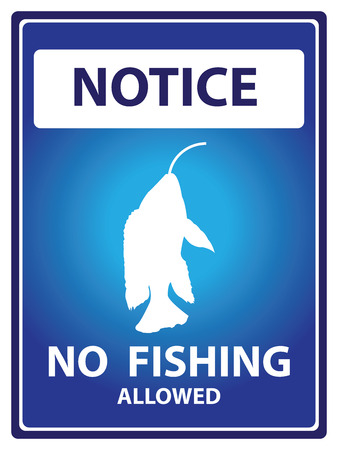 Blue Notice Plate For Safety Present By No Fishing Allowed Text With Fish on The Hook Sign Isolated on White Background photo