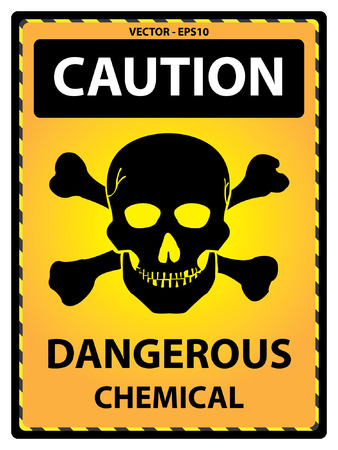 lpg: Vector : Yellow Caution Plate For Safety Present By Caution and Dangerous Chemical Text With Skull Sign Isolated on White Background