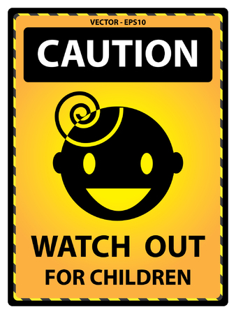 watch out: Vector : Yellow Caution Plate For Safety Present By Caution and Watch Out For Children Text With Children Sign Isolated on White Background Illustration